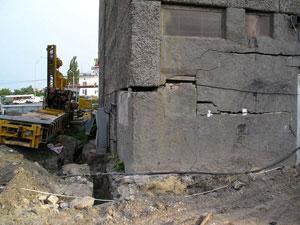 Разрушение фундамента из-за использования буронабивных свай